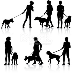 Silhouettes of people and dogs.