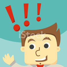 funny cartoon businessman with exclamation mark