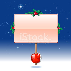 Hand holding blank board - christmas