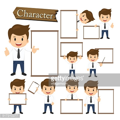 Businessman present whiteboard character set vector
