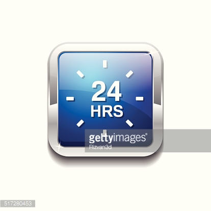 24 Hours Service Blue Vector Icon Button