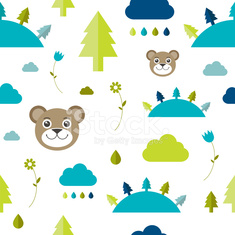 Child seamless pattern. Forest concept.