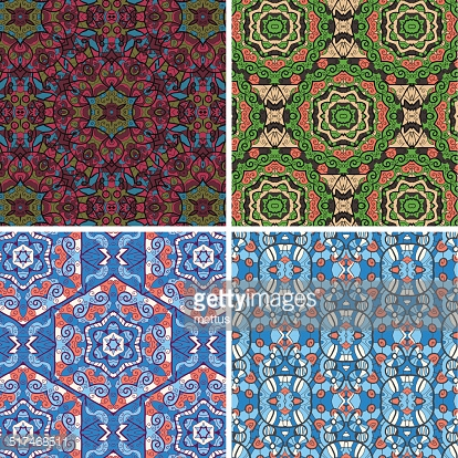 Seamless vector pattern in blue and green colors oriental geometrical