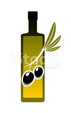 Bottle of olive oil with fresh olives icon