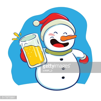 Snowman holding a glass of beer