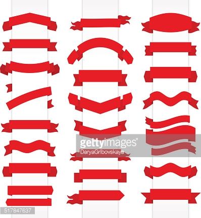 Set of red flat ribbons. Vector illustration