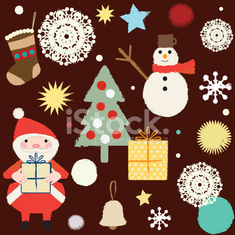 Christmas and winter themed retro seamless pattern 3