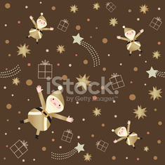Seamless pattern with Santa and stars on dark brown background