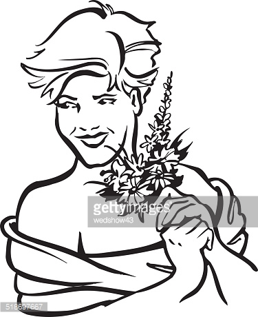 Woman With Flowers Clipart Stock Photos