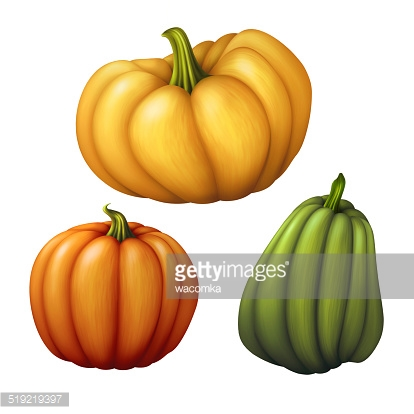 autumn orange pumpkin with green leaf