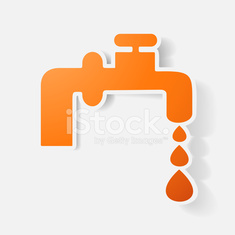 Paper clipped sticker: faucet