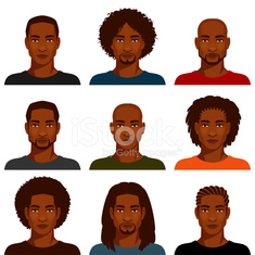 African American men with various hairstyle
