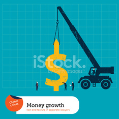 Crane lifting a money sign