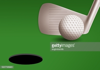 golf iron with ball on the green