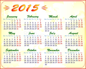 calendar 2015, vector illustration