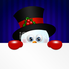christmas snowman holding blank over blue background