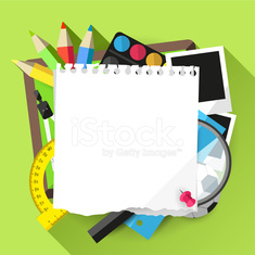 Modern Flat style school background with place for text