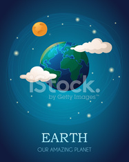 Illustration of the Earth with the Moon and clouds