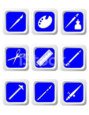 Art Supplies Icon Set: Blue Buttons