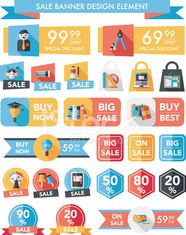 School sale banner design flat background set, eps10