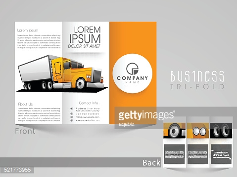 Professional trifold brochure, catalog and flyer for transport.