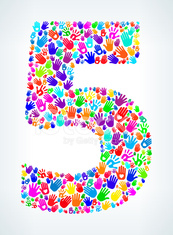 Number Five on Hands Pattern White Background