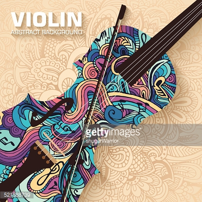 Hand drawn art abstract violin background of the ornament.