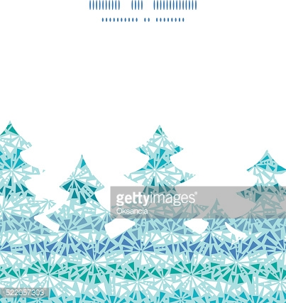 Vector abstract ice chrystals texture Christmas tree silhouette pattern frame