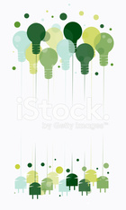 Idea concept with Colorful illustration of hanging light bulbs