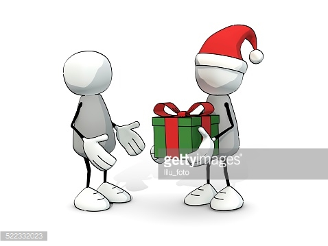 little sketchy men with santa hat and gift box