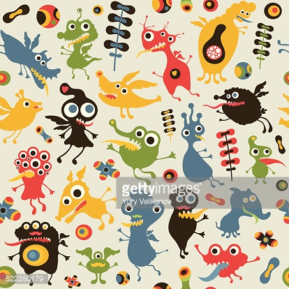Colorful seamless pattern with happy monsters.