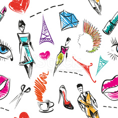 Seamless fashion hand drawn pattern, vector illustration