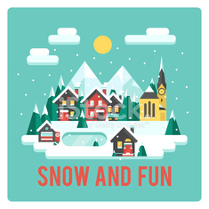 Town in mountains, winter time, snow and fun