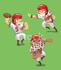 American Football Player with Ball in field