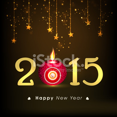 New Year 2015 celebration with stylish text and lit lamp.