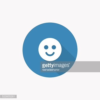 smile Flat Blue Simple Icon with long shadow
