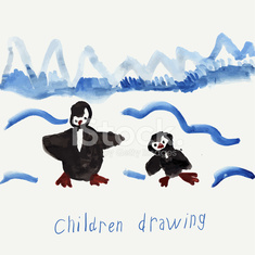 Child's Drawing Of Penguins