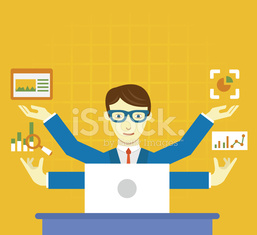 Vector Flat Illustration of analysis information and management