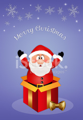 Santa Claus in gift box for Christmas