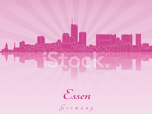 Essen skyline in purple radiant orchid