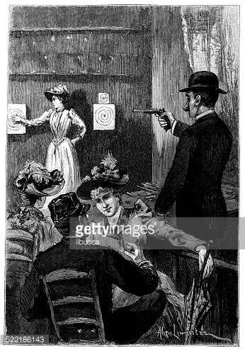 Antique illustration of pub target shooting