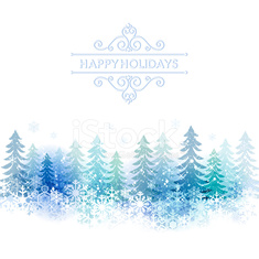 Holiday background with snow scenery