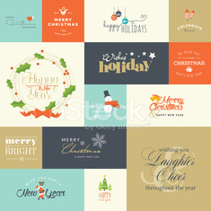 Set elements for Christmas and New Year greeting cards