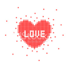 Pixel Heart With Love Word Stock Photos Vectorhqcom