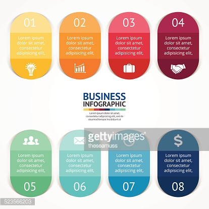 Stickers and labels for business infographic.