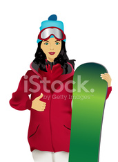 The young woman with a snowboard