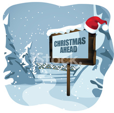 Christmas ahead sign with Santa hat