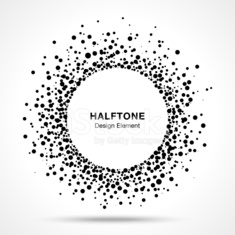 Black Abstract Halftone Logo Design Element