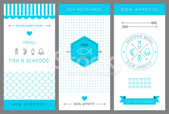 Restaurant menu design template. Seafood. Vector  illustration.