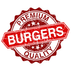 Burgers red vintage stamp isolated on white background
